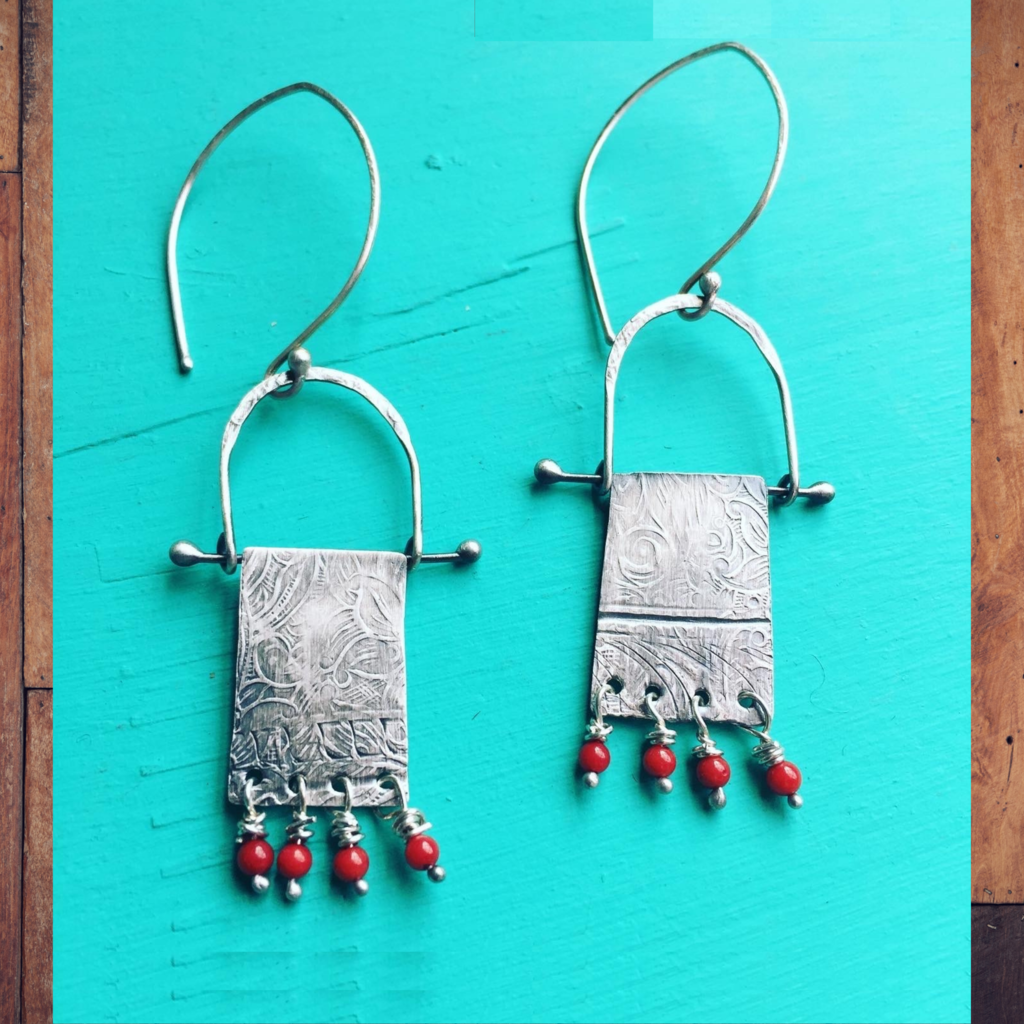 Red Coral Tapestry Earrings