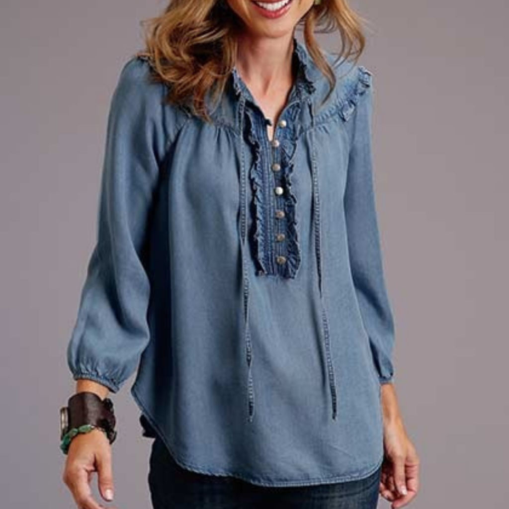 Tencel Denim Pullover Peasant