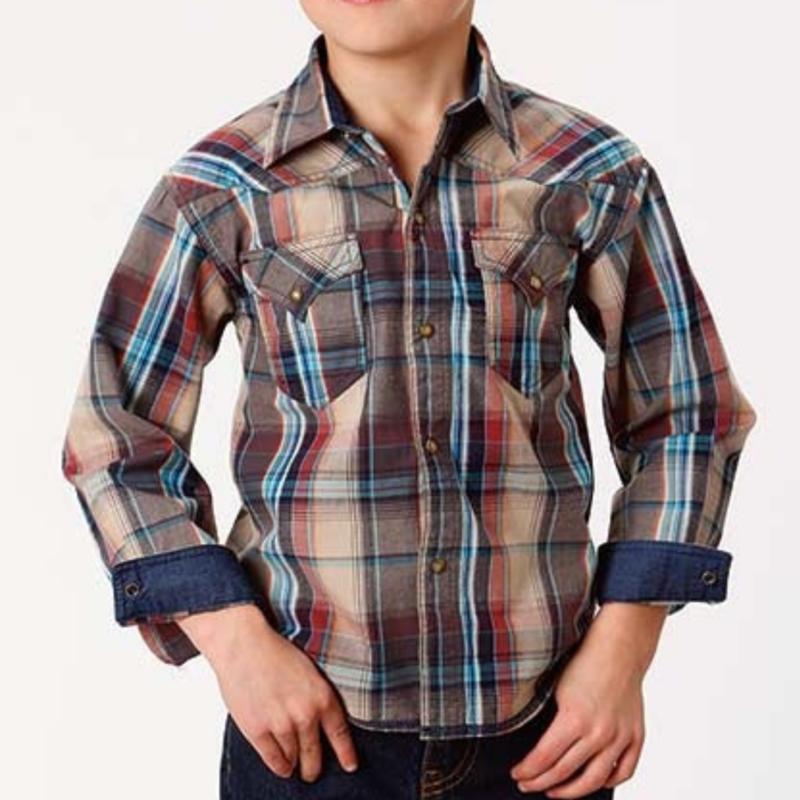 Roper   Kid's Dusk Plaid Snap Shirt