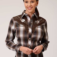 L/S Black Brown & White Plaid