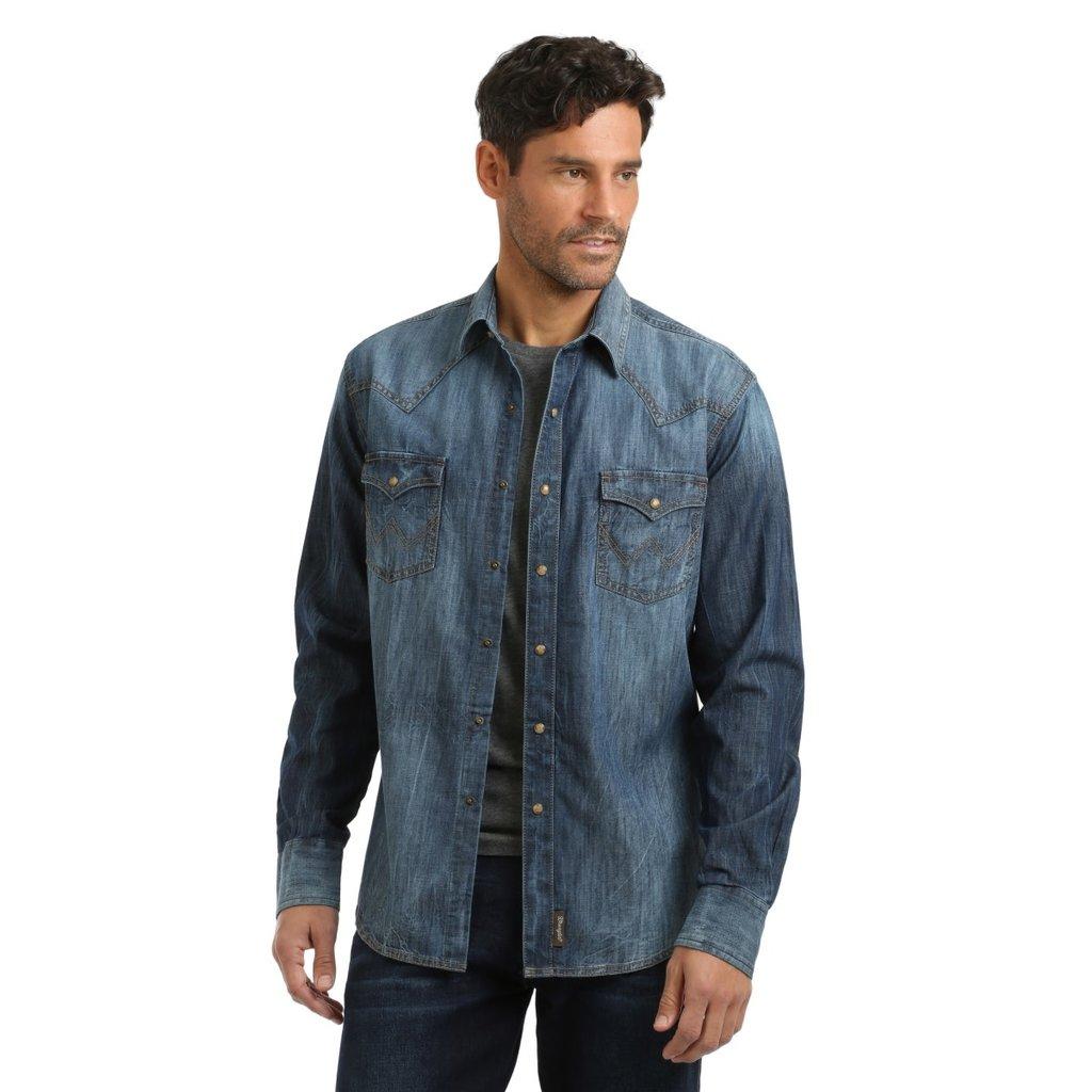 Wrangler   Blue Denim Snap Shirt