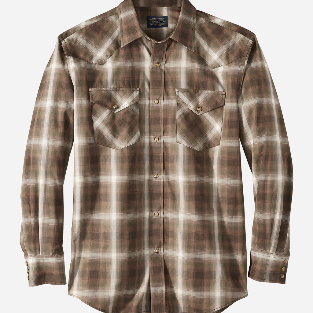Pendleton Frontier Shirt - Long Sleeve in Brown/Oliver/Ivory Plaid