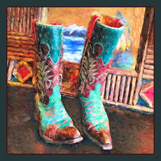 Impressionistic Photography | Boot Scootin' Square Silk Scarf