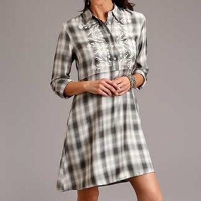 Smokey Ombre Plaid Shirt Dress