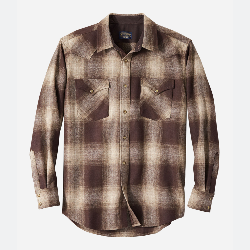 Pendleton Canyon Shirt in Brown/Taupe/Tan Ombre