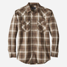 Pendleton Pendleton | Frontier Shirt - Long Sleeve in Brown/Oliver/Ivory Plaid