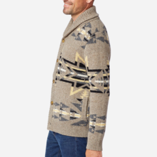 Pendleton Pendleton | Shetland Shawl Cardigan in Plains Star Grey/Tan