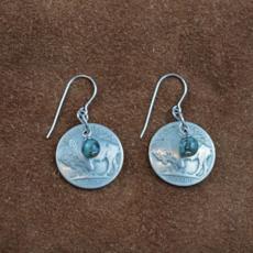 Buffalo Nickel/African Turquoise Hook Earrings
