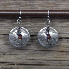 Buffalo Nickel/Poppy Jasper/Crystal Earrings