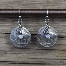Buffalo Nickel/White Turq/Crystal Earrings