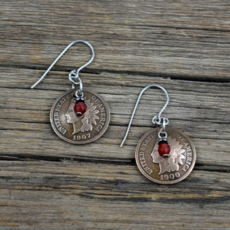 Cool Water | Native Penny/Carnelian Earrings