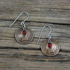 Indian Head Penny/Carnelian Earrings