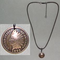 Leather with Indian Head Penny Necklace