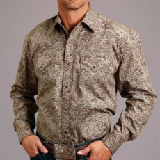 Stetson | L/S Snap Shirt 2 Pocket Print