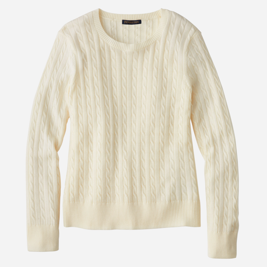 Pendleton Merino Cable Pullover in Ivory