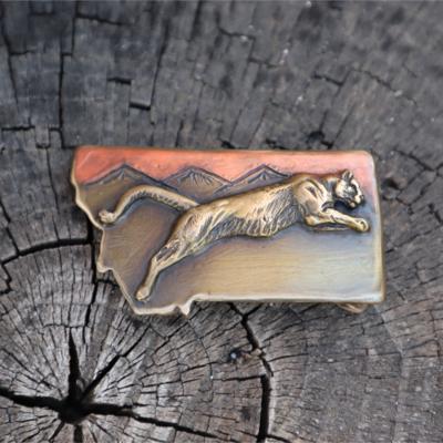Montana Cougar Belt Buckle