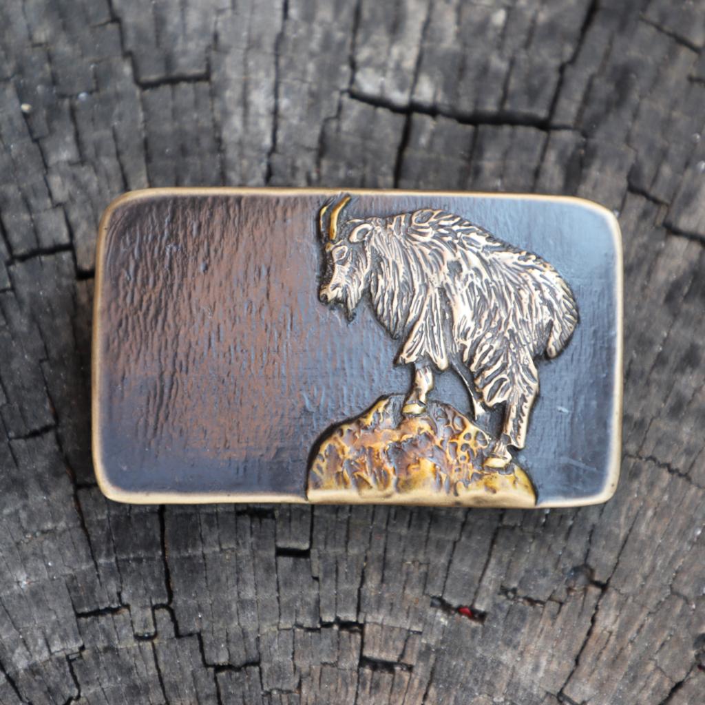 Mountain Gypsy Studio   Mountain Goat Rectangle Belt Buckle Black
