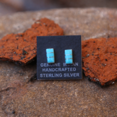 Zuni Handcrafted Turquoise Earrings | Sterling