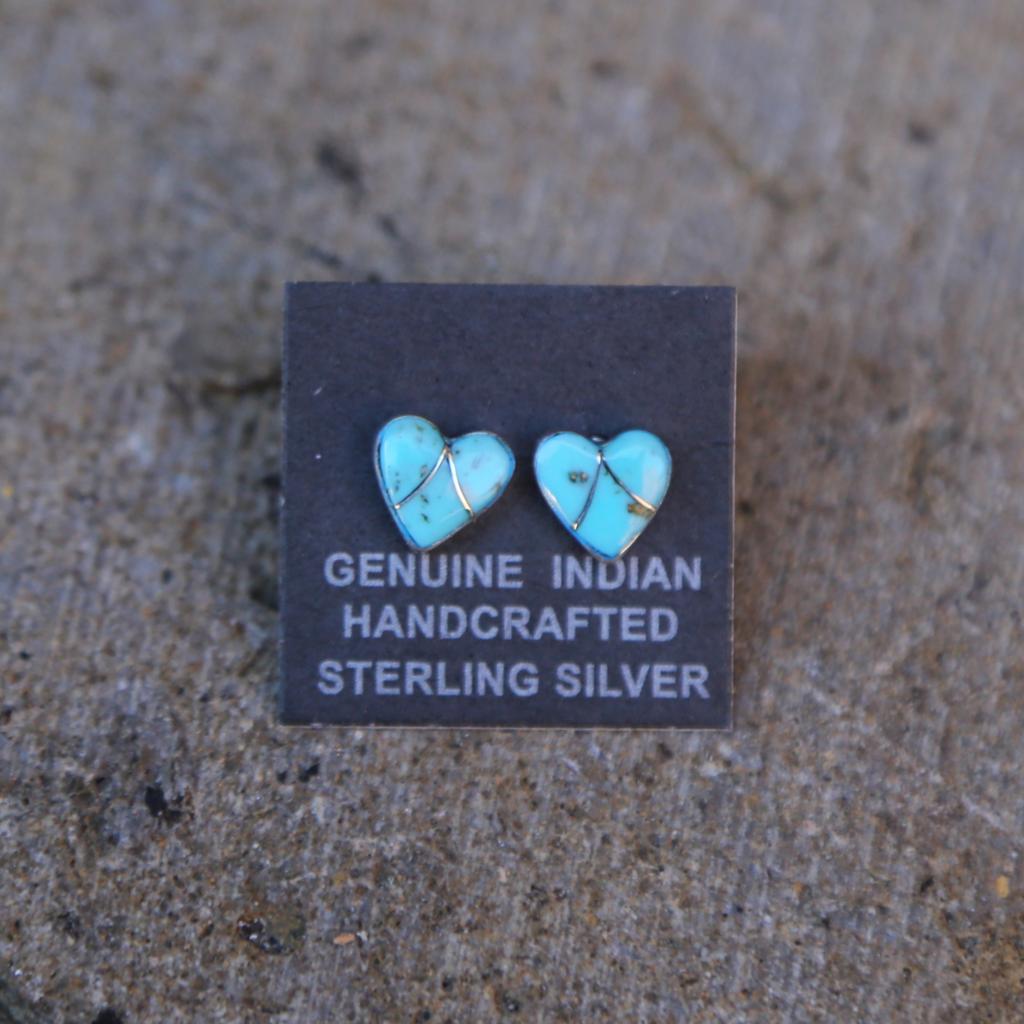 Turquoise Zuni Heart Earrings | Sterling
