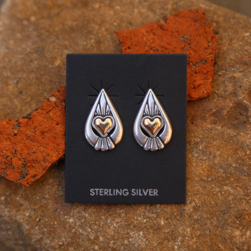 Golden Heart Earrings | Sterling