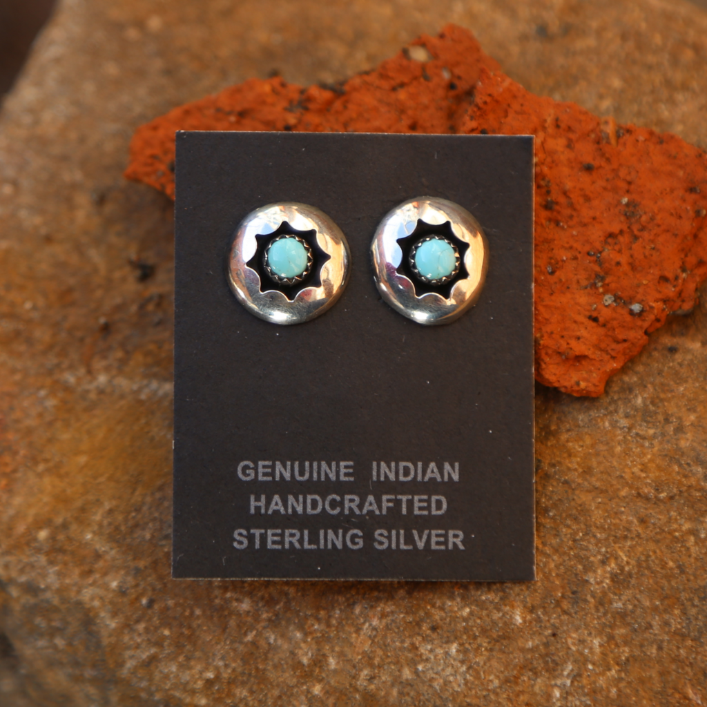 Turquoise Concho Stud Earrings | Sterling