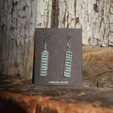 Zuni Dangle Turquoise Earrings | Sterling
