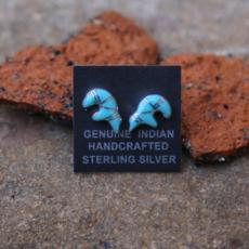 Turquoise Zuni Bear Stud Earrings | Sterling