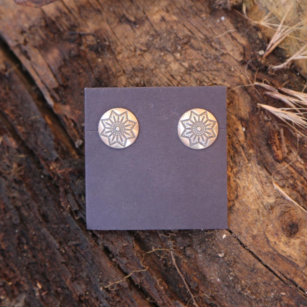 Floral Stamped Earrings | Sterling