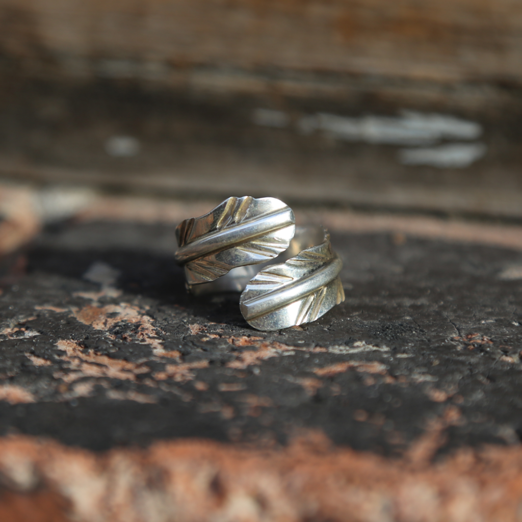 Sterling Feather Ring   Size 10