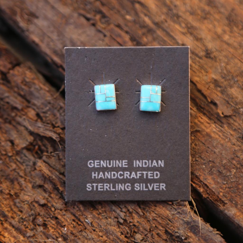 Turquoise Zuni Earrings | Sterling