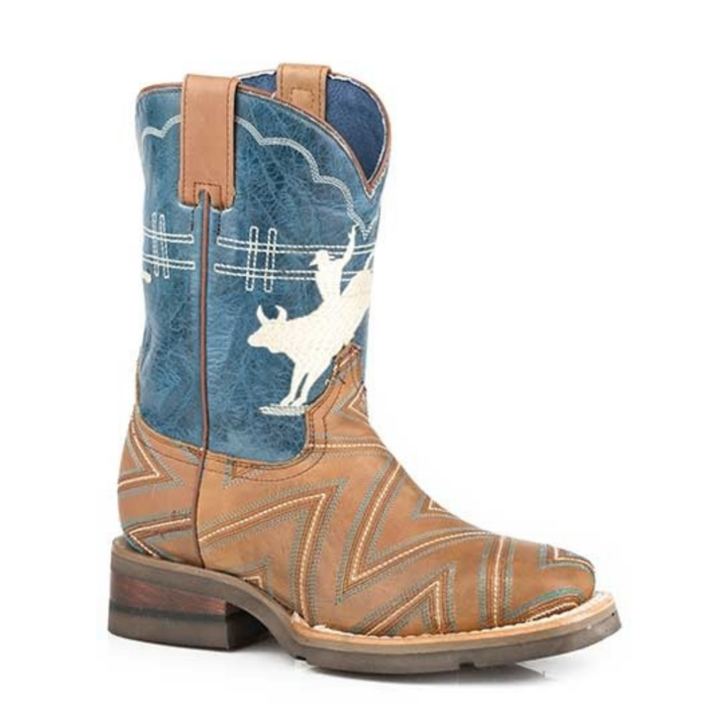 Cowboy Embroidered Bull Rider Boot Blue