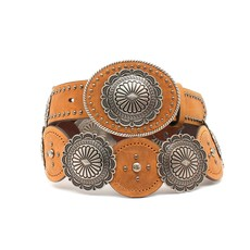 Silver Concho Leather Belt