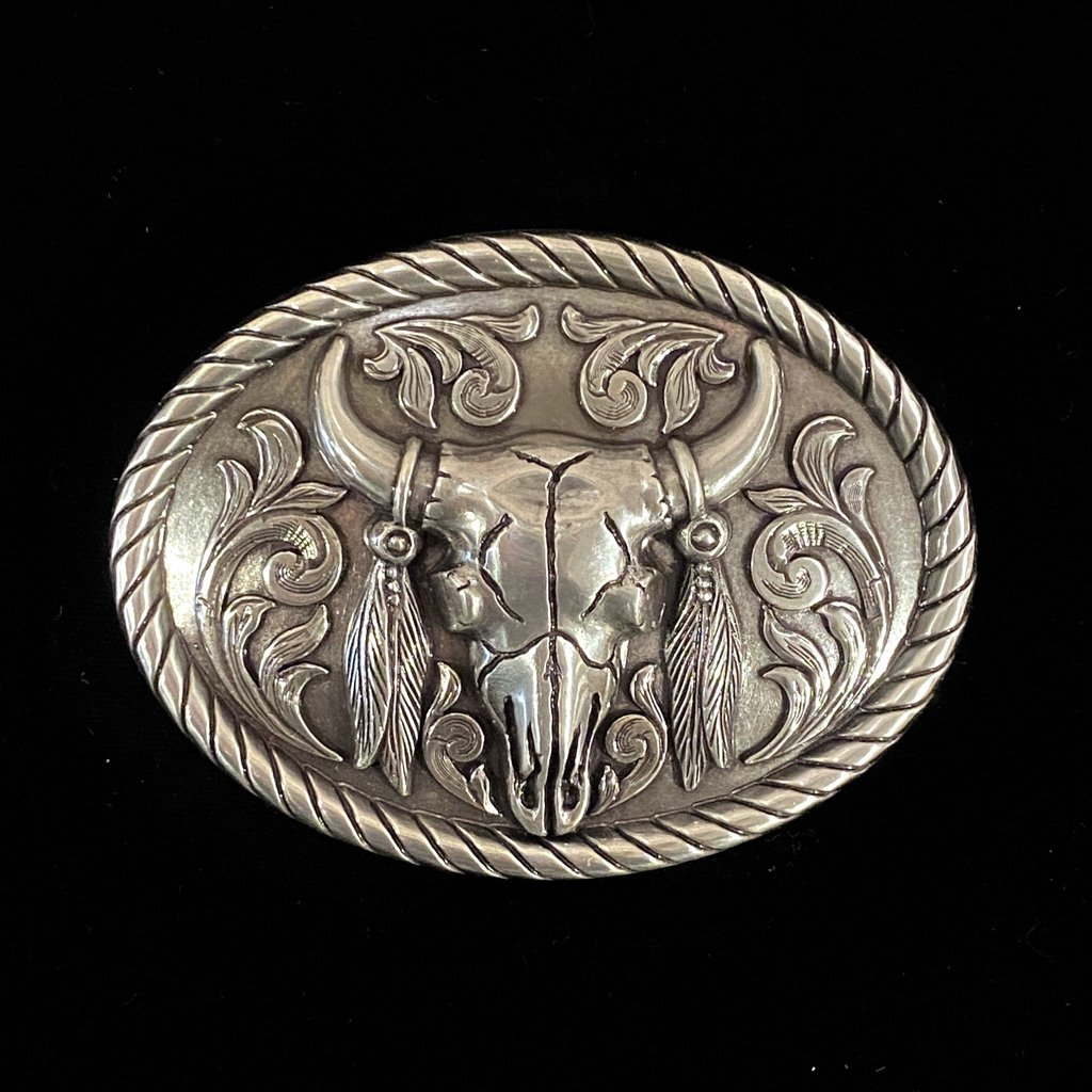 Skull with Feathers Buckle