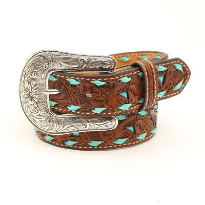Turquoise Tooled Leather Belt