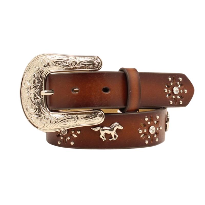 M&F Western | Silver Horse + Horseshoe Leather Belt