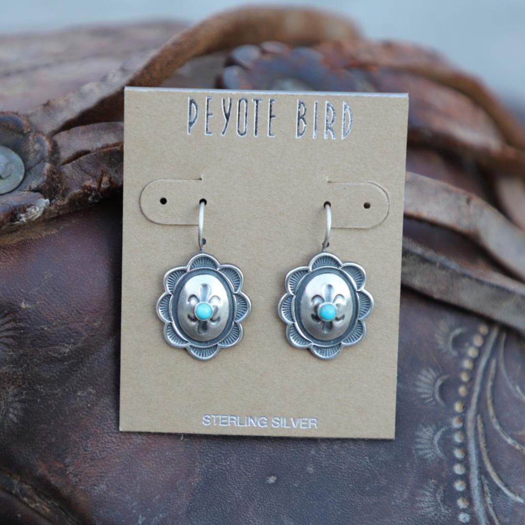 Peyote Bird | Sterling Concho Turquoise Stone Earrings