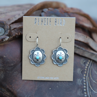 Peyote Bird | Sterling Concho Turquoise Stone Earrings