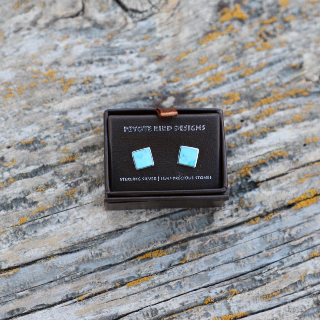 Peyote Bird | Turquoise Inlaid Square Stud
