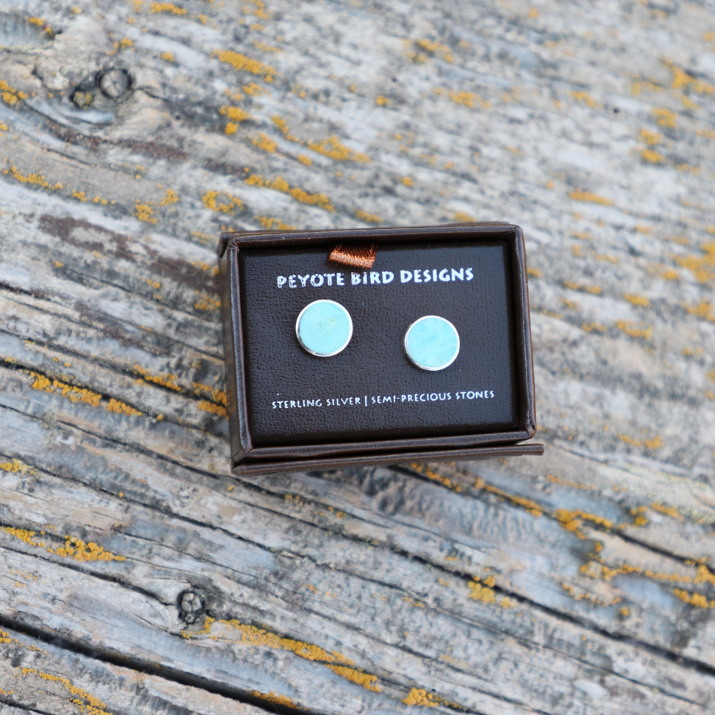 Peyote Bird   Turquoise Inlaid Round Stud Earring