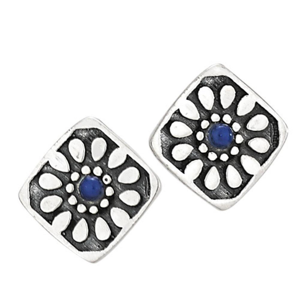 Sterling Silver | Lapis Stud Earrings