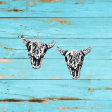 Sterling Silver   Steer Stud Earrings