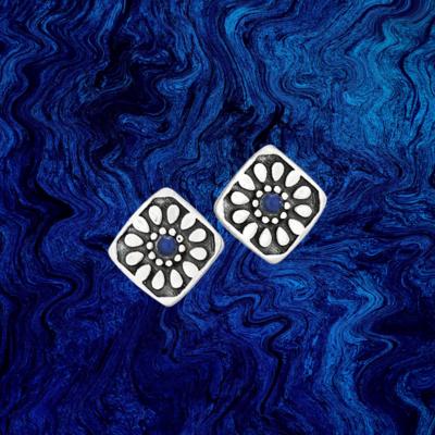 Sterling Silver   Lapis Stud Earrings