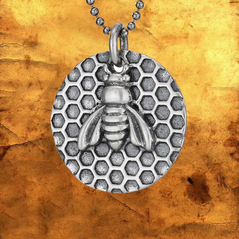 Sterling   Bee Honeycomb Necklace