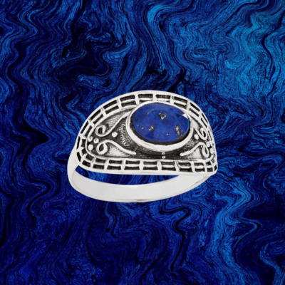 Oval Lapis Ring   7, 8, 9