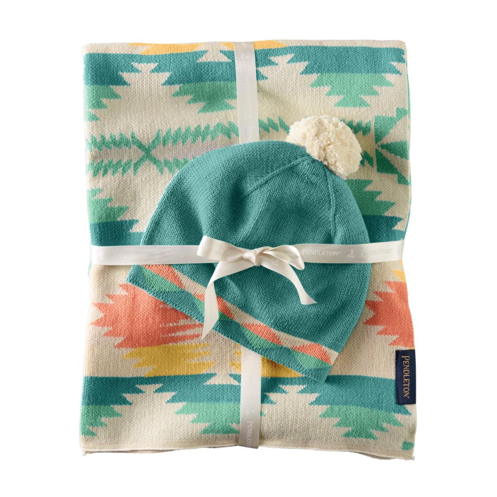Pendleton Pendleton | Knit Baby Blanket with Beanie in Falcon Cove Tan