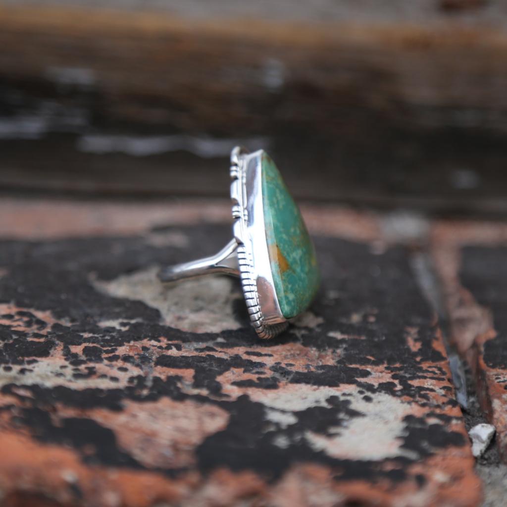 Blazing Fox Designs   Cerritos Turquoise Ring Size 9 1/4