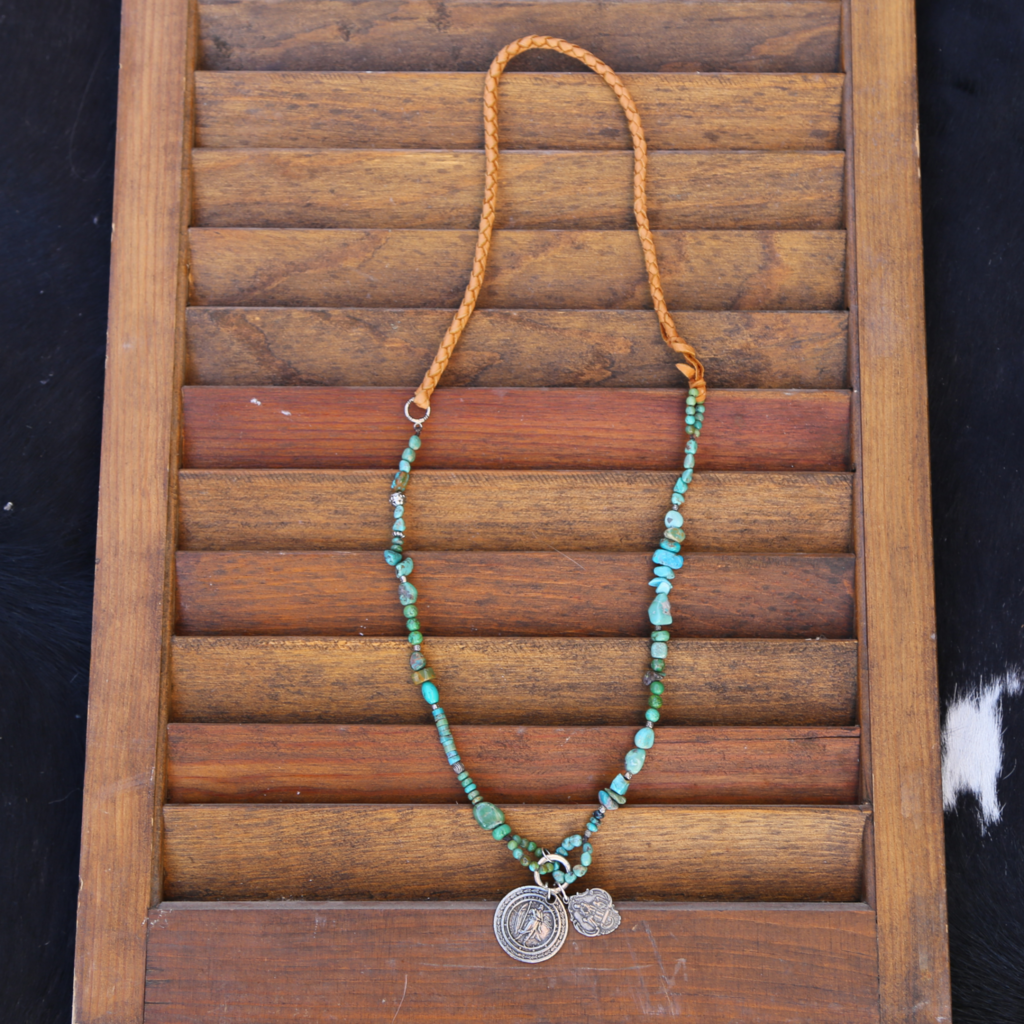3 Angels | Leather Green Turquoise Necklace