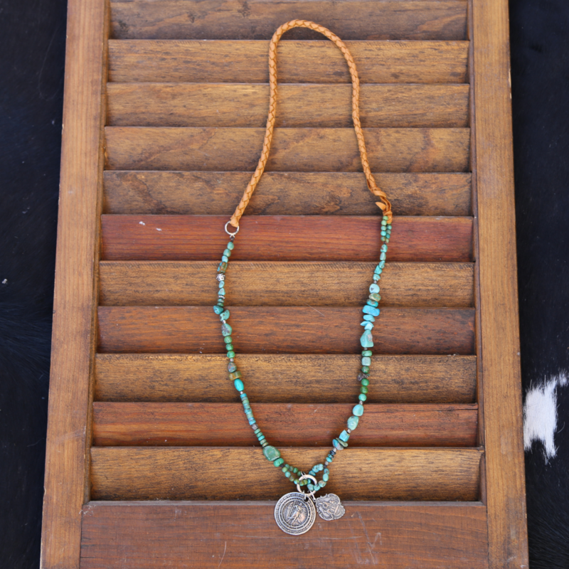 3 Angels   Leather Green Turquoise Necklace