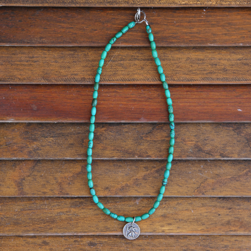 3 Angels   St. Christoper Turquoise Necklace