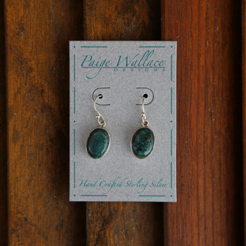 Paige Wallace   Turquoise Oval Earrings